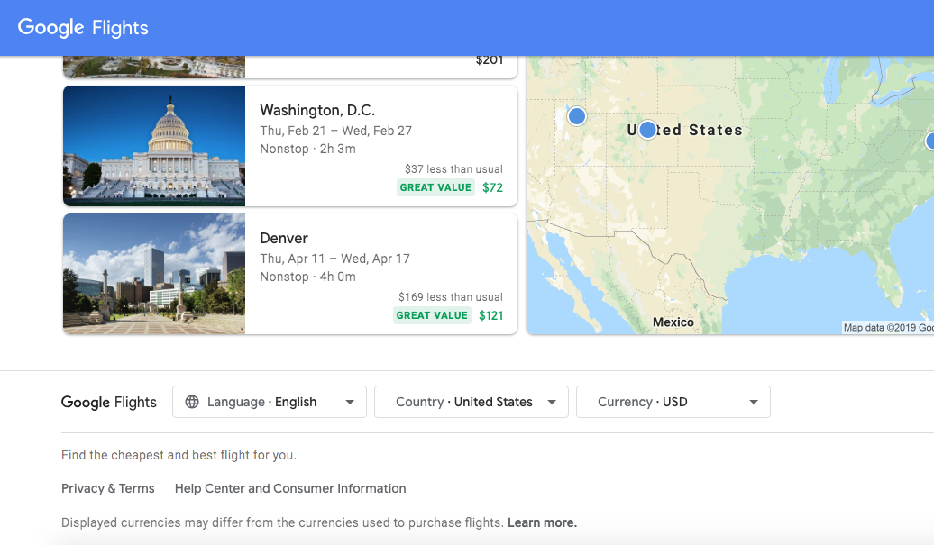 Google Flights Currency and Language