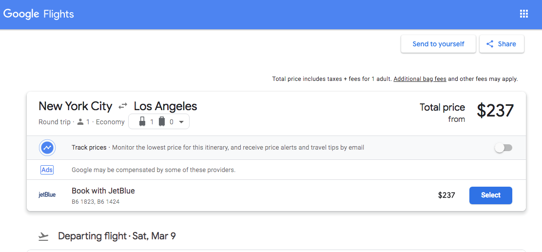 Booking Flights on Google Flights