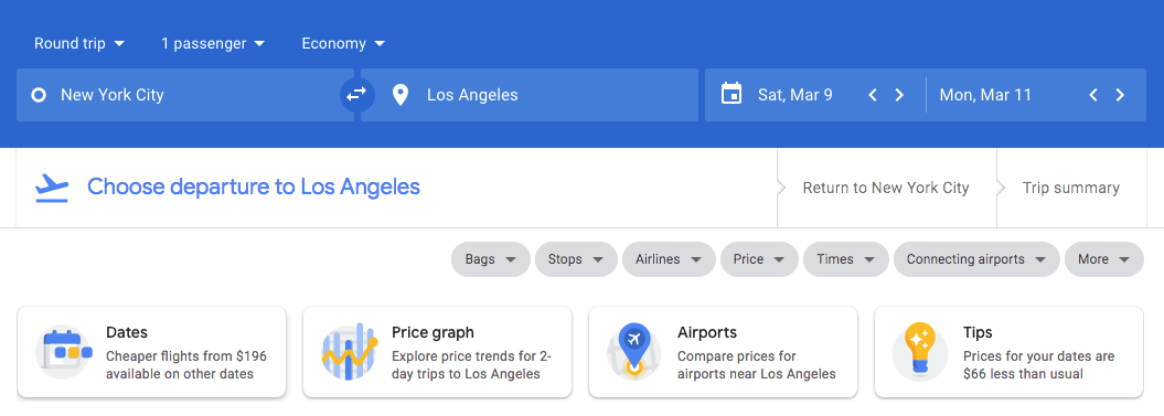 Google Flights Recommendations