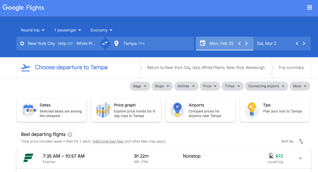 Flight to Tampa for under $100