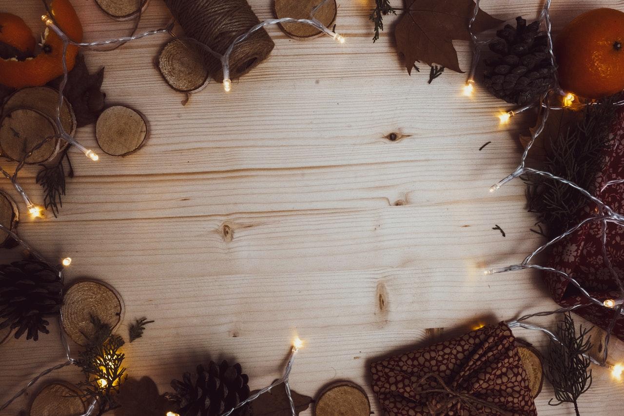 Fall apartment decor-string lights