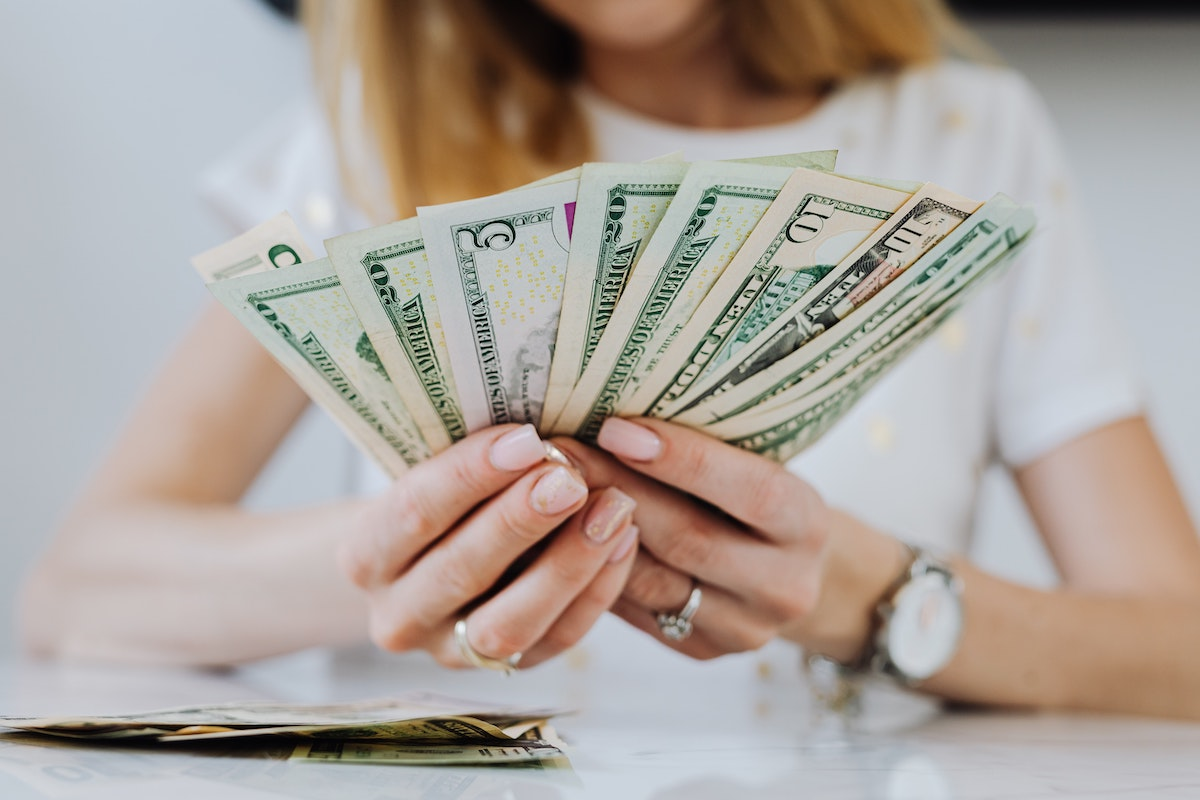 Woman exploring relationship with money