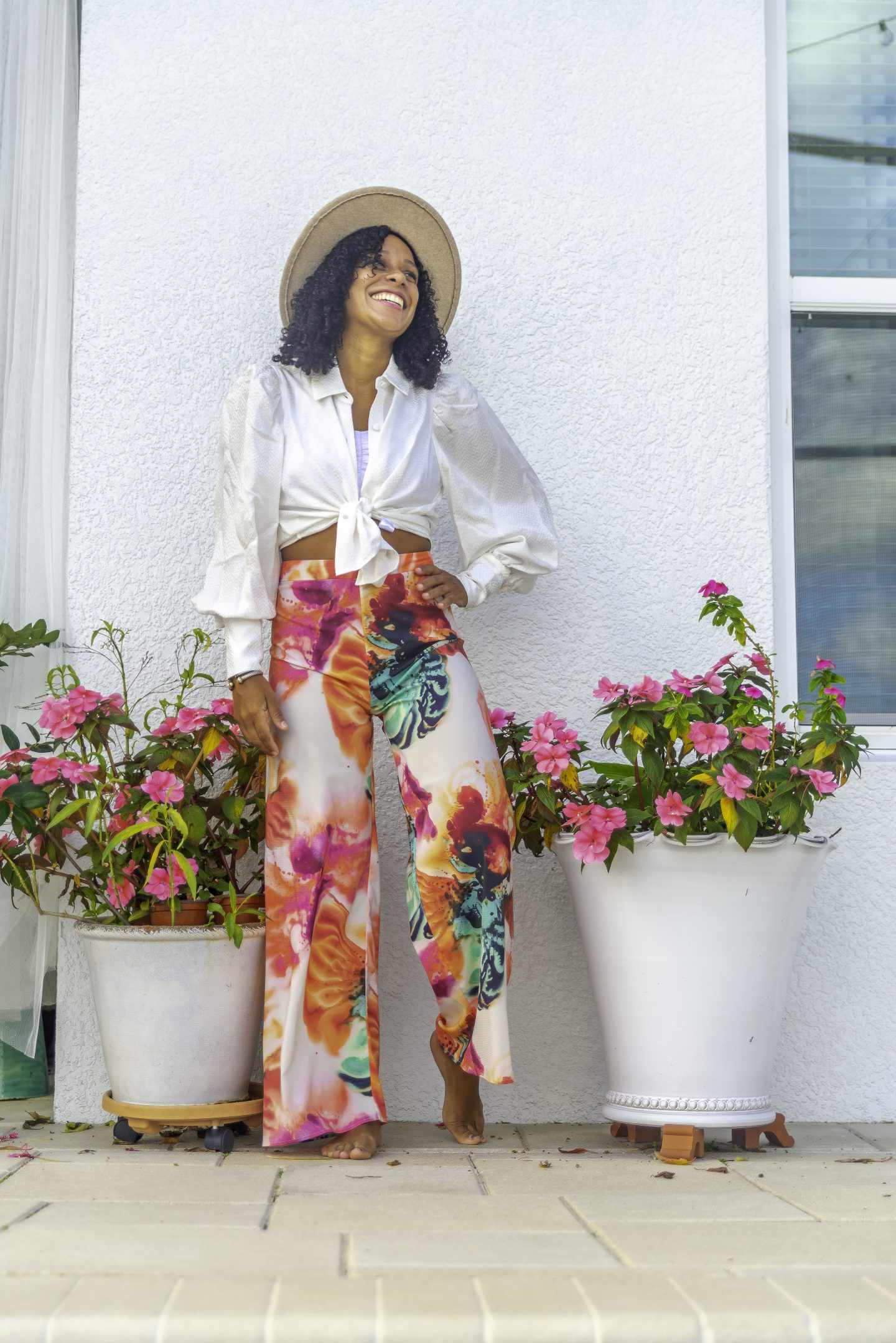 Colorful wide leg pants and top outfit
