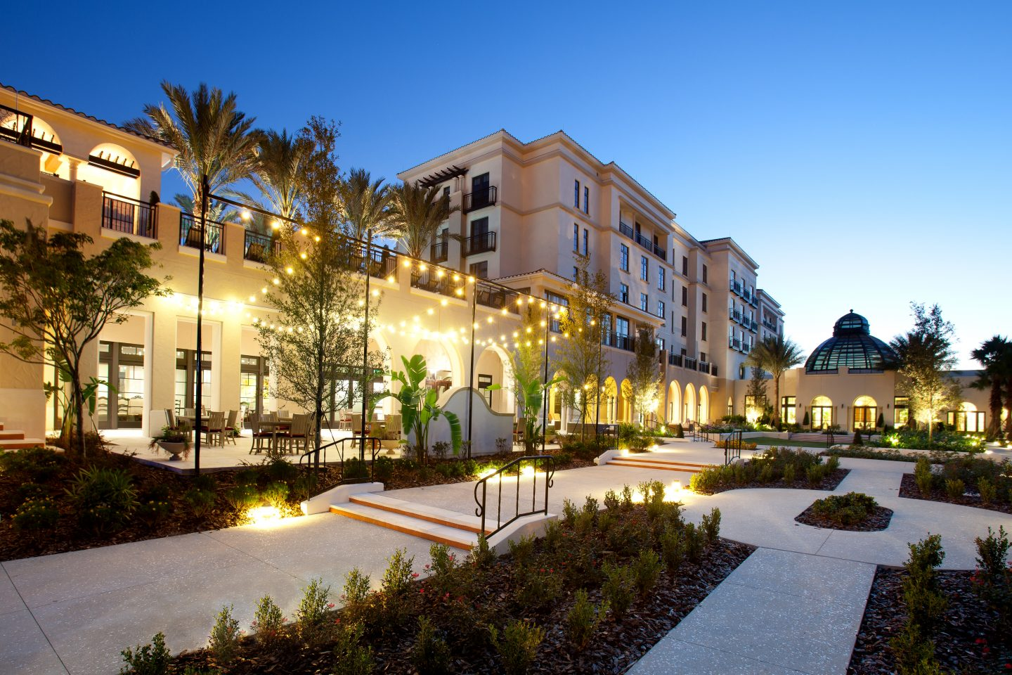 Where to stay in Orlando for Adults- The Alfond Inn exterior at night