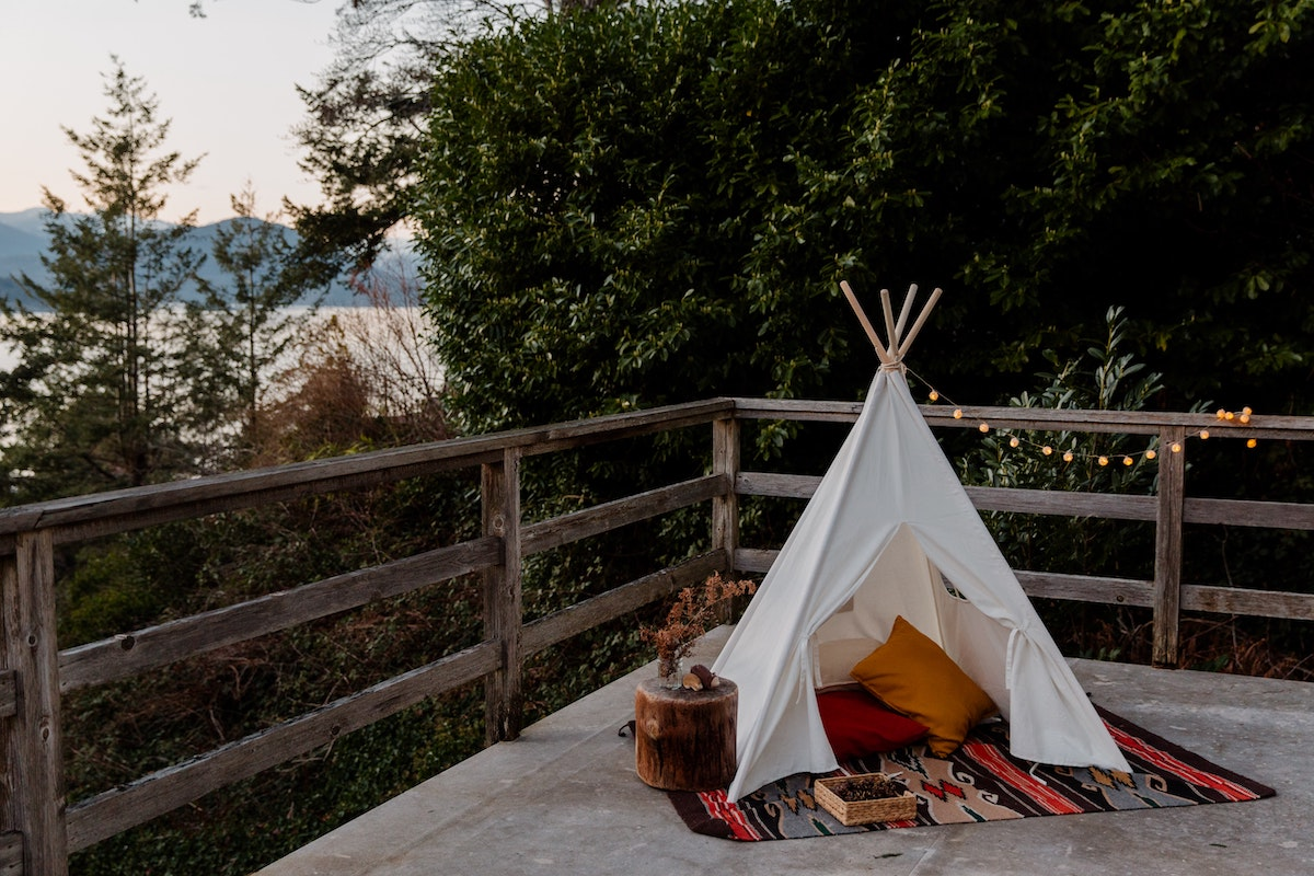 Camping set up in the backyard